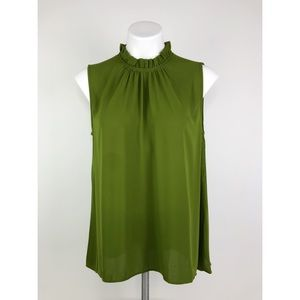 💜Ann Taylor Green High Neck Ruffle Career Tank
